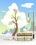 Träd i snön med en bänk och en lykta, med en kontur av staden bakom i en plan stil stock illustrationer