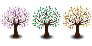 Träd i tre varianter Fotografering för Bildbyråer