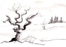 Träd i witer royaltyfri illustrationer