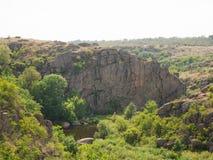 Träd, klippor och sjö för sommar gröna på en naturlig bakgrund Härlig sikt av ett nationalparklandskap grön natur royaltyfria bilder