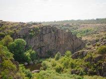 Träd, klippor och sjö för sommar gröna på en naturlig bakgrund Härlig sikt av ett nationalparklandskap grön natur arkivfoton