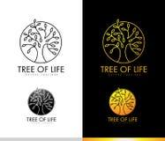 Träd Logo Monogram royaltyfri illustrationer