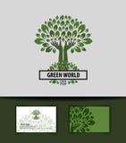Träd logo symbol, tecken, emblem, mall, affär Arkivfoton