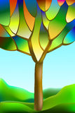 Träd målat glassfönster Royaltyfria Foton