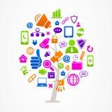 Träd med affärs- och internetsymboler Royaltyfria Bilder