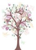Träd med blommor och fåglar Royaltyfri Foto