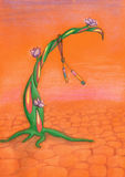 Träd med blommor på orange bakgrund royaltyfri illustrationer