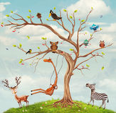 Träd med djur Royaltyfri Fotografi