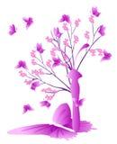Träd med fjärilen Arkivfoto