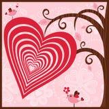 Träd med hjärta och de förälskade fåglarna Arkivfoton