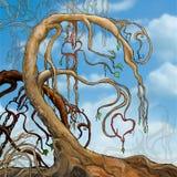 Träd med hjärtor i filialer Arkivfoton