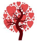 Träd med hjärtor som isoleras på vit Royaltyfri Bild