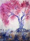 Träd med körsbärsröda blomningar i aftonen Royaltyfri Bild