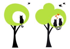 Träd med katter och fåglar, vektor stock illustrationer