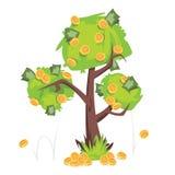Träd med pengarräkningar och mynt på grön lövverk som isoleras på vit bakgrund Arkivfoton