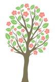 Träd med sidor och blommor Royaltyfria Bilder