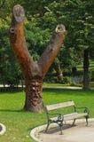 Träd med träskulptur av en framsida Arkivbilder
