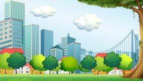 Träd nära de högväxta byggnaderna stock illustrationer