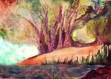 Träd nära vattnet Landskap vattenfärg handgjort Fotografering för Bildbyråer