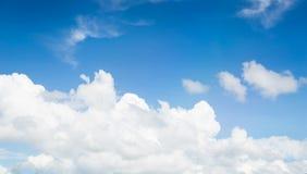 Träd och blå himmel fördunklar molnigt landskap Arkivfoto
