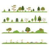Träd och Bush linje uppsättning Arkivfoto