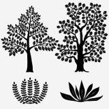 Träd och buskar - vektorillustration Arkivbild