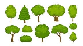 Träd och buskeuppsättning av symboler Skog natur, miljöbegrepp den främmande tecknad filmkatten flyr illustrationtakvektorn Royaltyfria Foton
