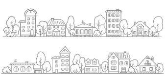 Träd och hus i rad för din ram
