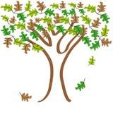 Träd och kulöra blad på vit bakgrund Vektor Illustrationer