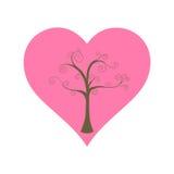 Träd och stor hjärta arkivbilder