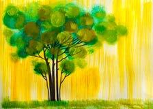 Träd olje- målning, konstnärlig bakgrund Arkivbilder