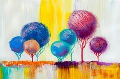 Träd olje- målning, konstnärlig bakgrund Stock Illustrationer