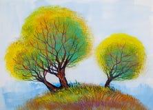 Träd olje- målning, konstnärlig bakgrund royaltyfri illustrationer