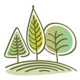 Träd på en kulle Arkivbild