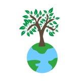 Träd på jordekologibegrepp Stock Illustrationer