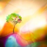 Träd på watercolored bakgrund Royaltyfri Bild
