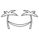 Träd Palm Beach med hängmattan royaltyfri illustrationer