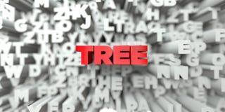 TRÄD - Röd text på typografibakgrund - 3D framförde fri materielbild för royalty vektor illustrationer