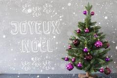 Träd snöflingor, cementvägg, Joyeux Noel Means Merry Christmas Royaltyfria Foton