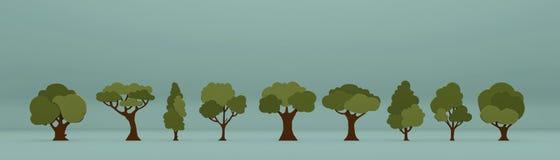 Träd som isoleras på blå bakgrund