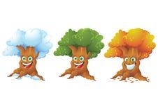Träd som skrattar den isolerade uppsättningen för tecknad filmtecken Royaltyfri Bild