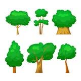 Träd ställde in, vektorillustrationen i tecknad filmstil stock illustrationer