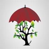 Träd under ett paraply vektor illustrationer