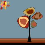Träd under solen i mitt av hösten vektor illustrationer