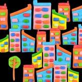 Träd vs byggnadsbegrepp Arkivbild