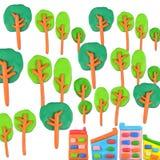 Träd vs byggnadsbegrepp Arkivfoto