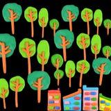 Träd vs byggnadsbegrepp Arkivfoton