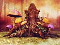 Trädbiskopsstol i skogen vektor illustrationer