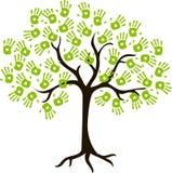 Trädet av handprints arkivfoto