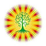 Trädet av liv mot bakgrunden av den openwork mandalaen i ljusa färgrika färger stock illustrationer